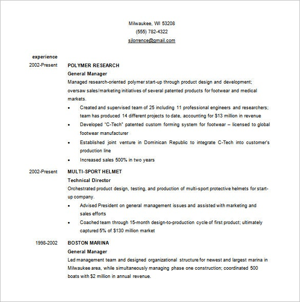 Business Resume Template Word 1