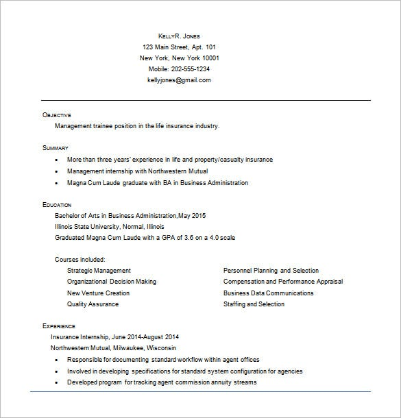 business administrative resume word free download