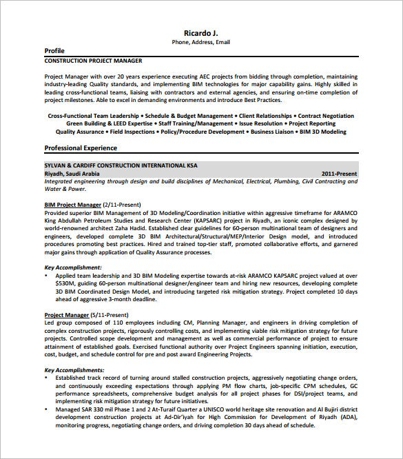 Construction Project Manager Resume Free PDF