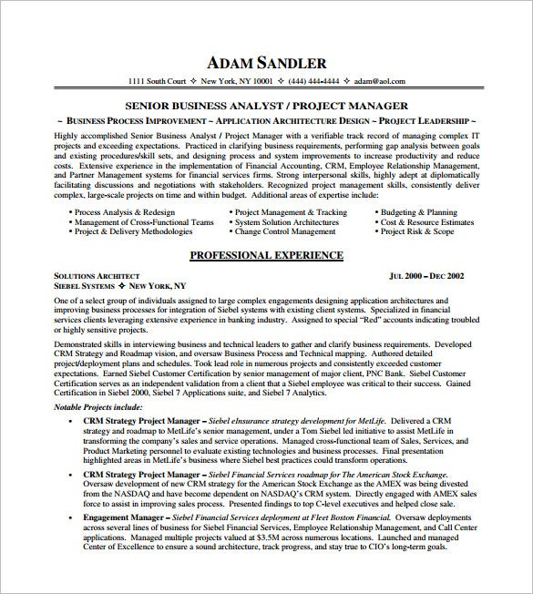 it project manager resume pdf free template - Sample Resume For Project Manager