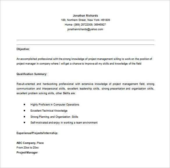 Entry Level Project Manager Resume In MS Word  Project Management Career Objective