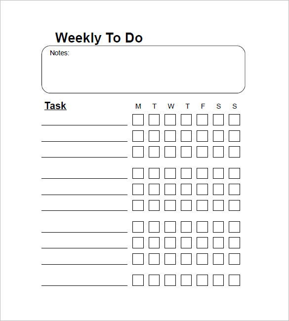 Weekly To Do List Template - 6+ Free Word, Excel, Pdf Format