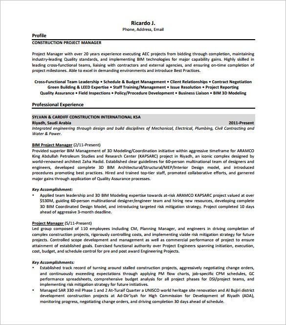 Construction Project Manager Resume PDF Free Download