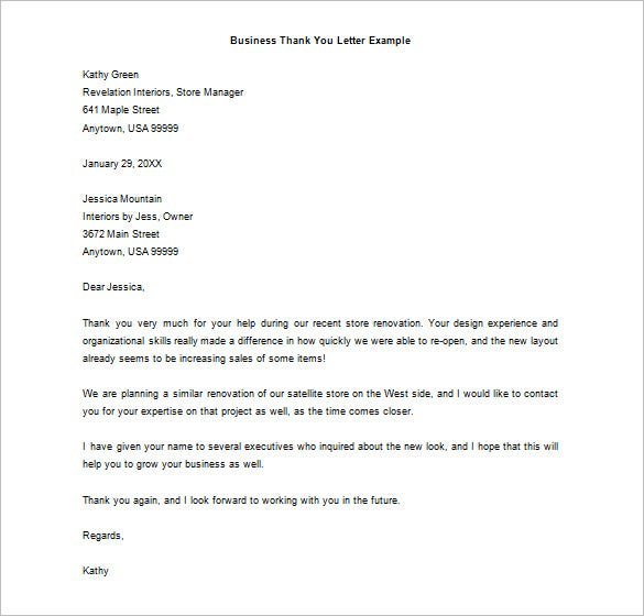 business thank you letter example free download