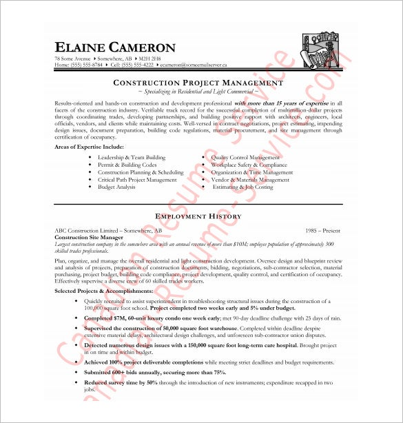 construction manager resume free pdf download - Canadian Format Resume