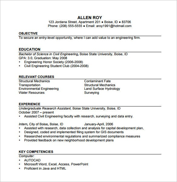 Construction Resume Template   Free Word Excel Pdf Format