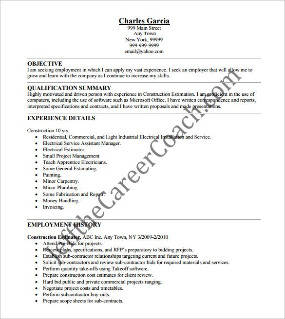 Construction resume template 9 free word excel pdf format construction estimator resume pdf free downlaod maxwellsz