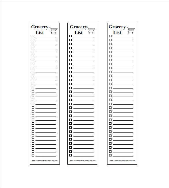 Blank Grocery List Template  Grocery List Template Printable