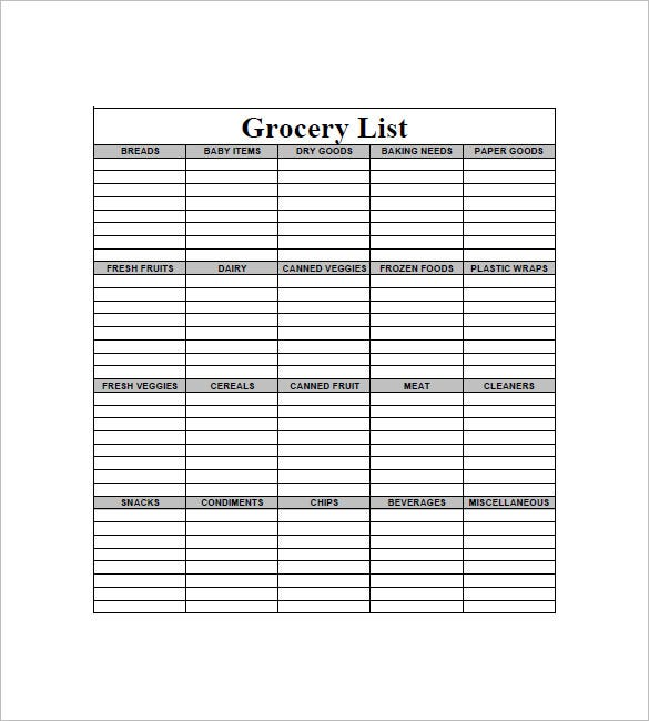 Blank Grocery Shopping List  Grocery List Template Word