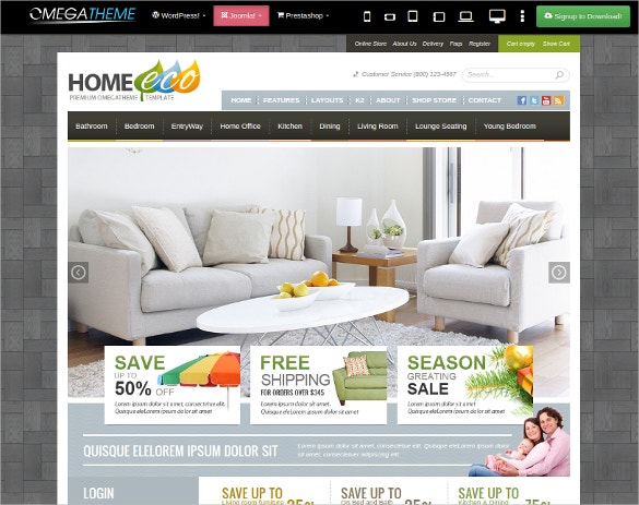 Interior Online Store Joomla VirtueMart Template