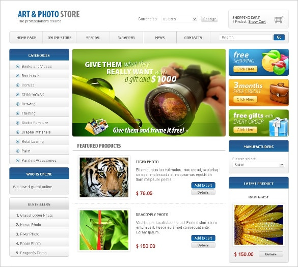 Beautiful Art Store VirtueMart Template