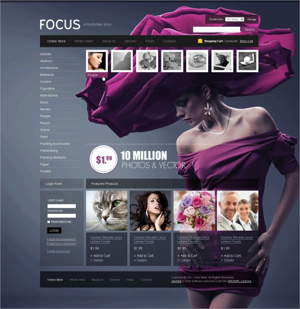 Photo Art Gallery Store VirtueMart Template