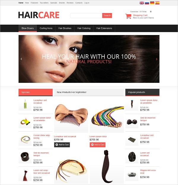 Hair Salon Oscommerce Template