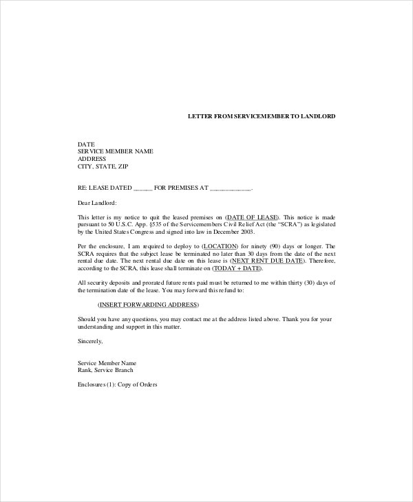 sample lease letter to landlord commercial