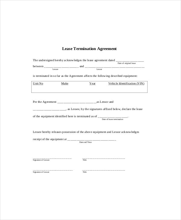 Lease Termination Template   Free Word  Documents Download