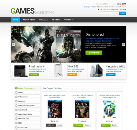 Gamer OsCommerce Video Template
