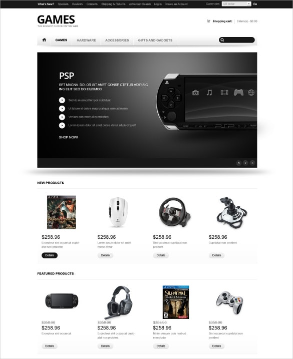 Video Games OsCommerce Template