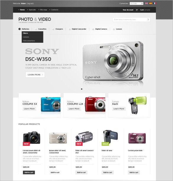 Photo & Video Appliances Store OsCommerce Template