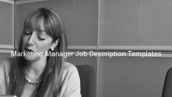 marketing manager job description templates