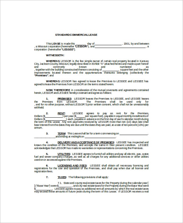 7 Commercial Lease Templates Free Sample Example Format – Commercial Lease Agreement Template Free
