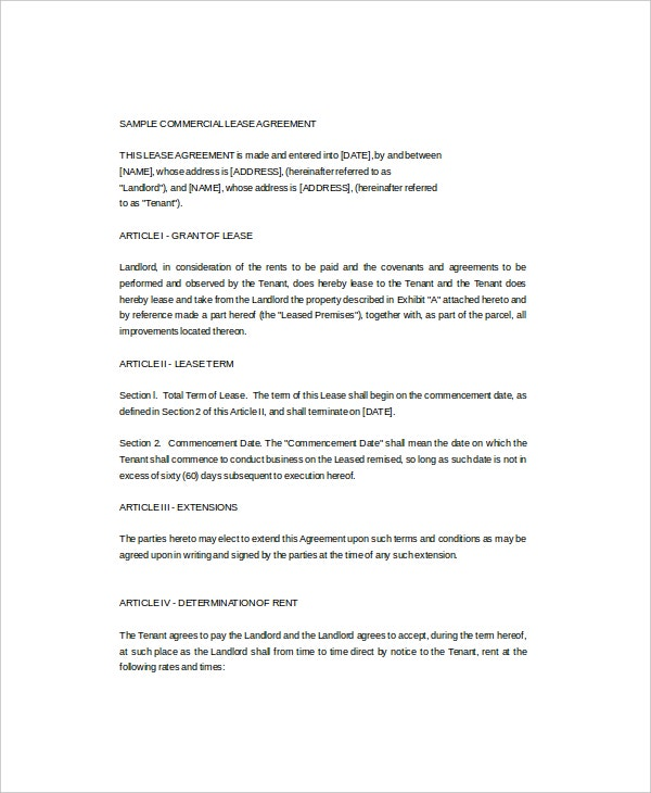 Commercial Lease Templates  Free Sample Example Format