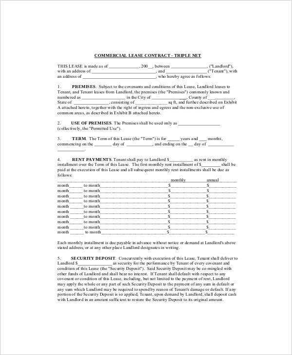 7 Commercial Lease Templates Free Sample Example Format – Sample Commercial Lease Agreements