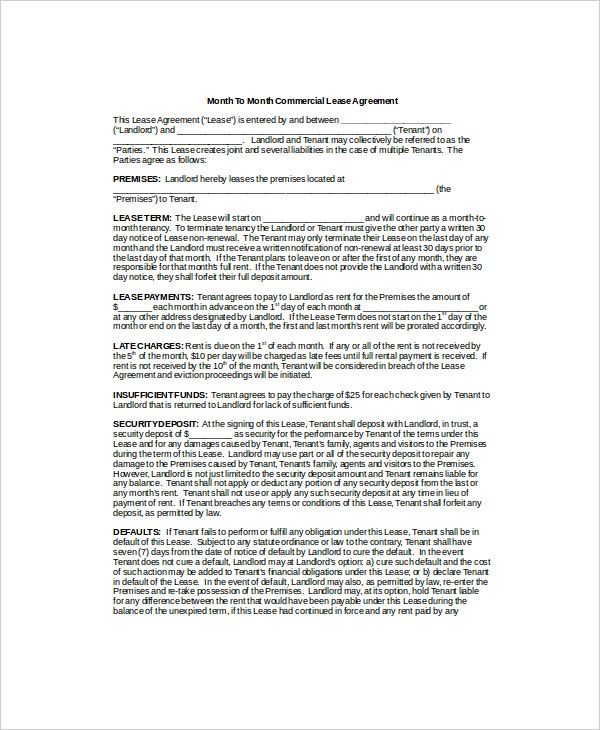 Month to Month Lease Templates 5 Free Sample Example Format – Sample Commercial Security Agreement Template