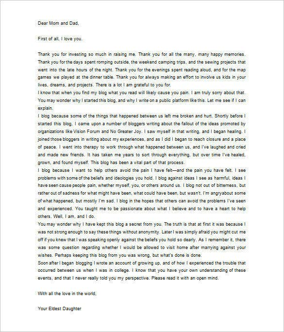 Thank You Letter To Parents   Free Sample Example Format