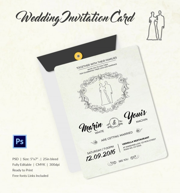 Modern Wedding Invitation Template PSD Download