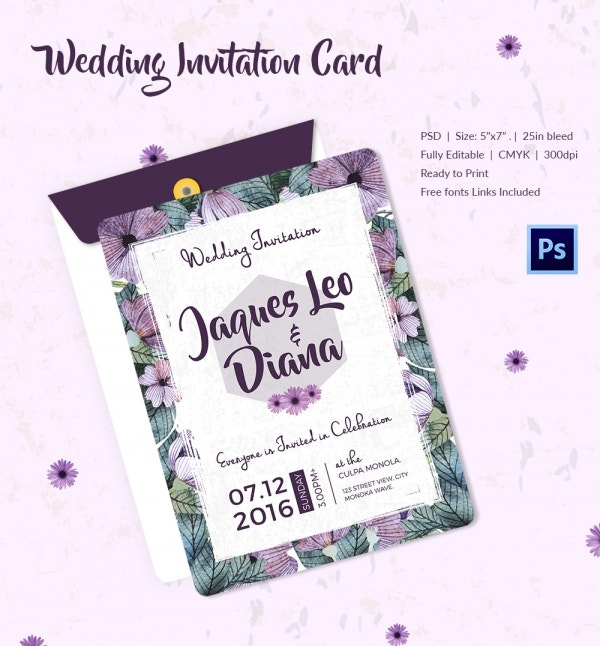 Watercolor Flowers Printable Wedding Invitation Template