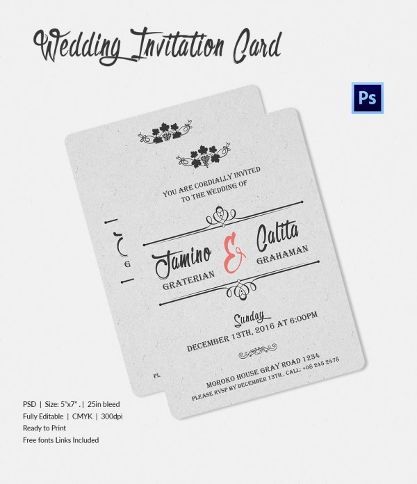 Winery Wedding Invitation Template PSD File