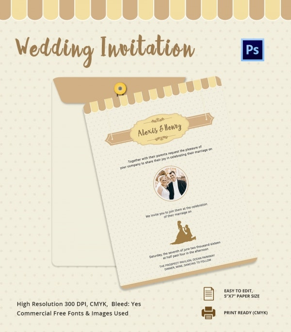 Western Style Wedding Invitation Card Template PSD Design