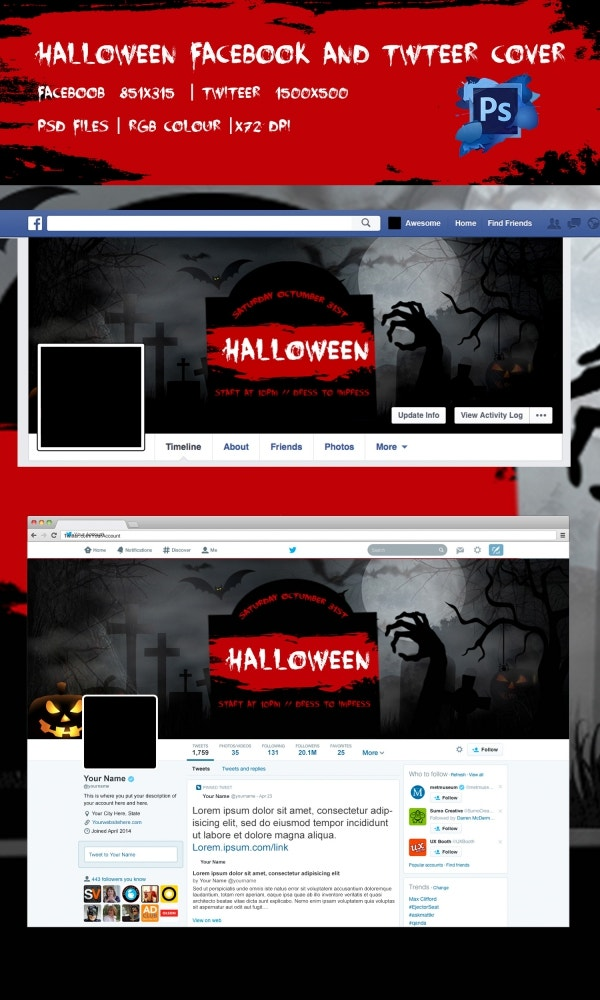 Red Shaded Halloween Facebook Background