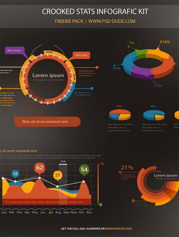 stats infographic template psd free download