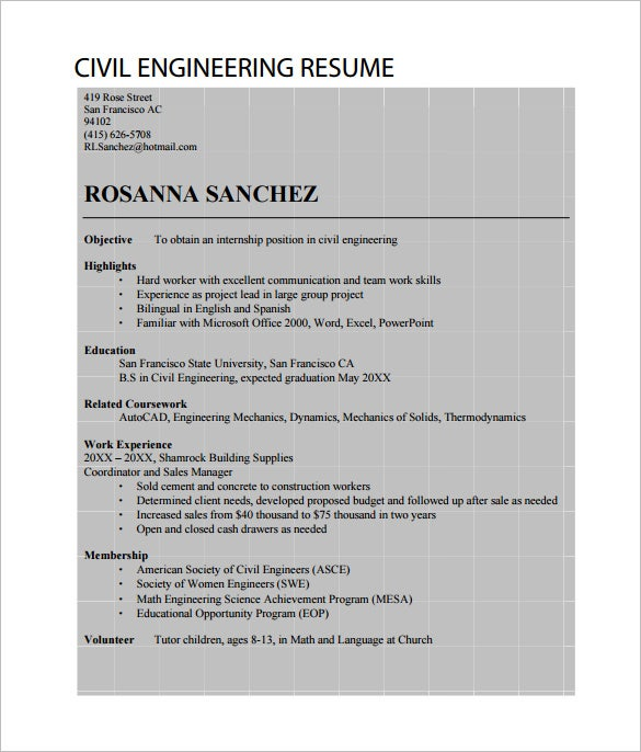 Mechanical Technician Resume Sample Engineering Resume Opening     Pinterest resume civil engineer