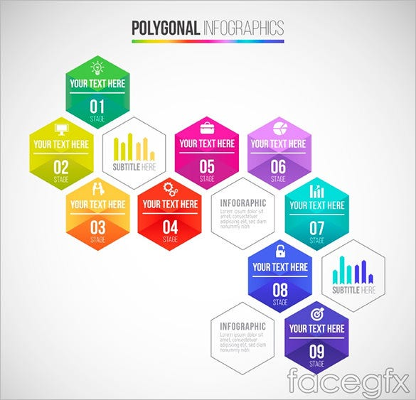hexagon business infographic element for free