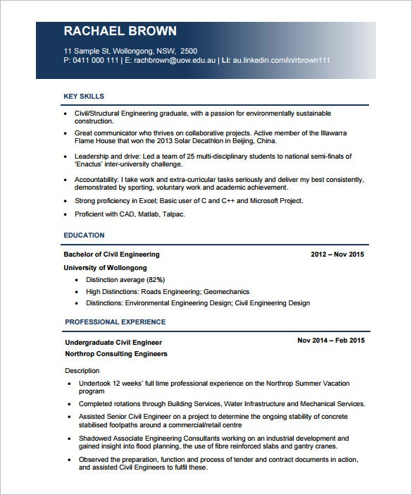 Civil Engineer Resume Template   Free Word Excel Pdf