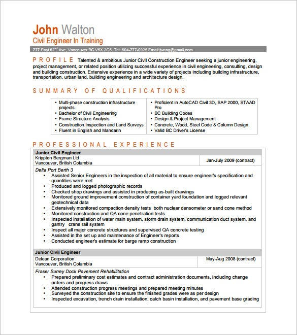 entry level civil engineer resume pdf downlaod - Contract Administration Sample Resume