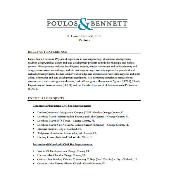 Civil Engineer Resume Templates  Word Excel Pdf  Free