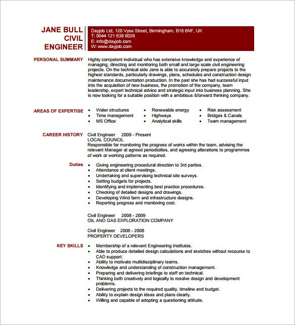 19 Civil Engineer Resume Templates Pdf Doc Free