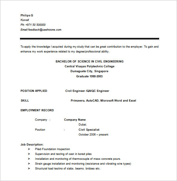 Civil Engineer Resume Template 10 Free Word Excel PDF – Job Description of Civil Engineer