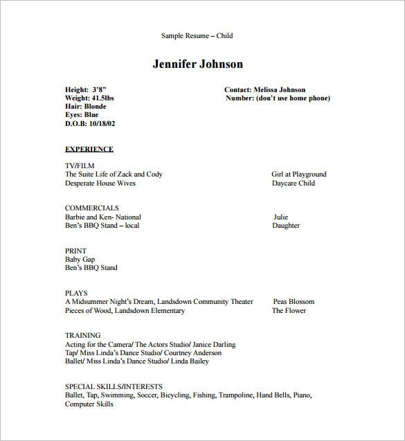 Delightful Child Acting Resume PDF Free Downlaod
