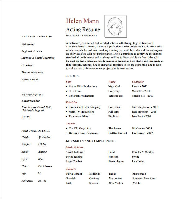 Proffesional Acting Resume PDF Free Downlaod  Acting Resume Template