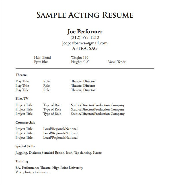 High Quality Theatre Acting Resume Free PDF Template  Actors Resume Template