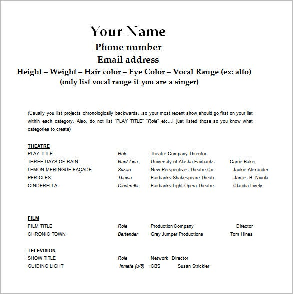 free actors resume template online acting film ms word download audition