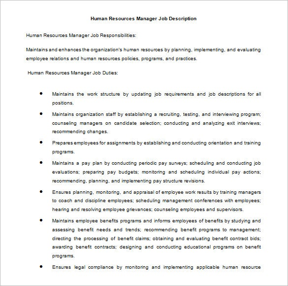 human resources manager job description free doc download - Job Description For Benefits Administrator