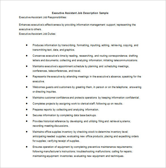 Sample Personal Assistant Job Description  Examples In Pdf Word