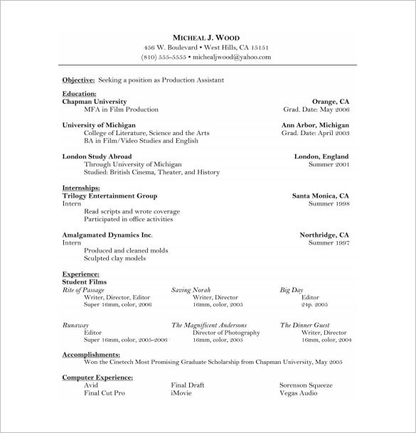 acting resume template film acting resume in ms word free