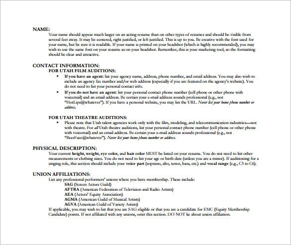 Audition Resume Template. Download Actors Resume Description Dance