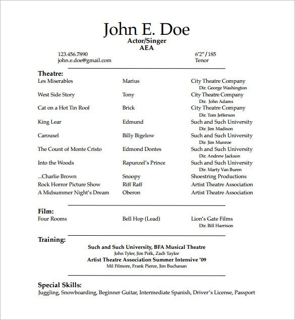Student Acting Resume PDF Free Downlaod  Audition Resume Format